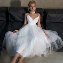 2021 New Wedding Dress Medium Length Affordable Sexy V-neck Suspender Skirt Simple Wedding Dress