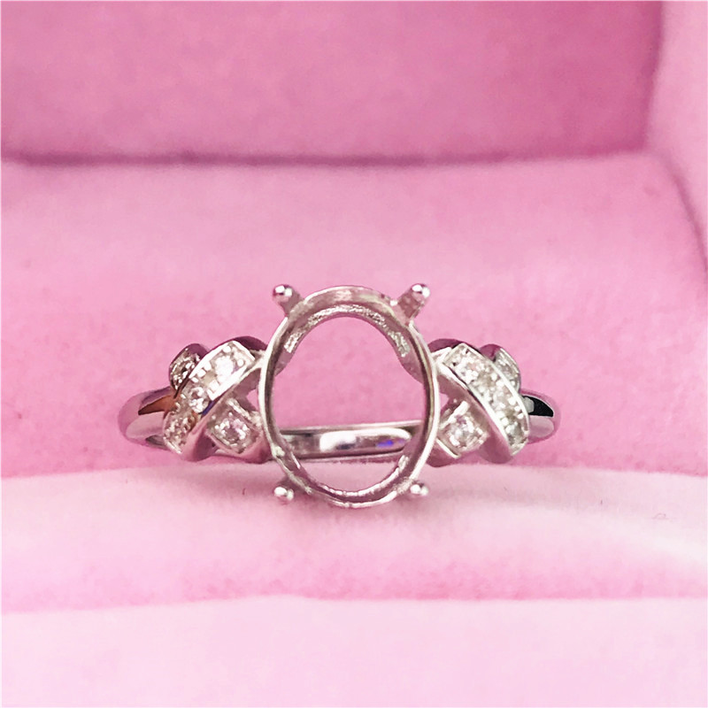 Hot Sale Oval Size 7X9mm Rings Basis S925 Silver Ring Base Shank Prong Setting Stone Inlaid Jewelry Fashion DIY Women Nice