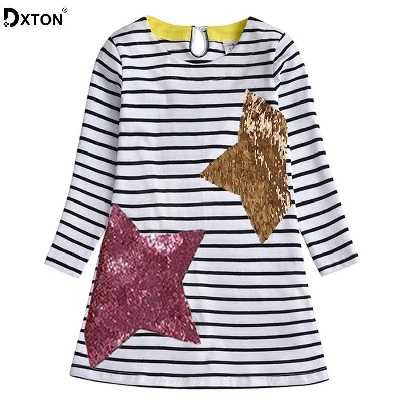Хлопковое платье DXTON для девочек, детские платья в полоску с длинным рукавом, зимние и осенние платья для малышей, детская одежда с блестками...