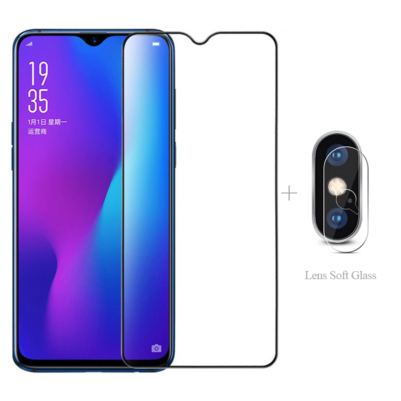 Full Cover Tempered Glass + Lens Protective Glass For Oppo A9 2020 A7 A5 A5S A3 A3S A1K A83 AX7 Pro Screen Protector Glass