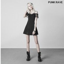 Punk Daily Chiffon lace mesh Off The Shoulder lovely Summer Dress Gothic Sexy slim Women Party Strap Dress PUNK RAVE OPQ-352LQF(China)