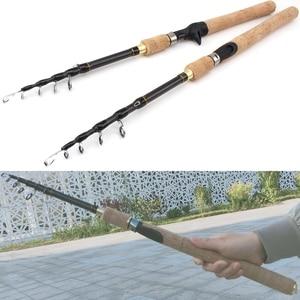 Image 5 - ¡Promoción! Caña de pescar giratoria de 1,8 m, 2,1 m, 2,4 m, 2,7 m, fibra de carbono, telescópica, dura, de viaje, mango de madera