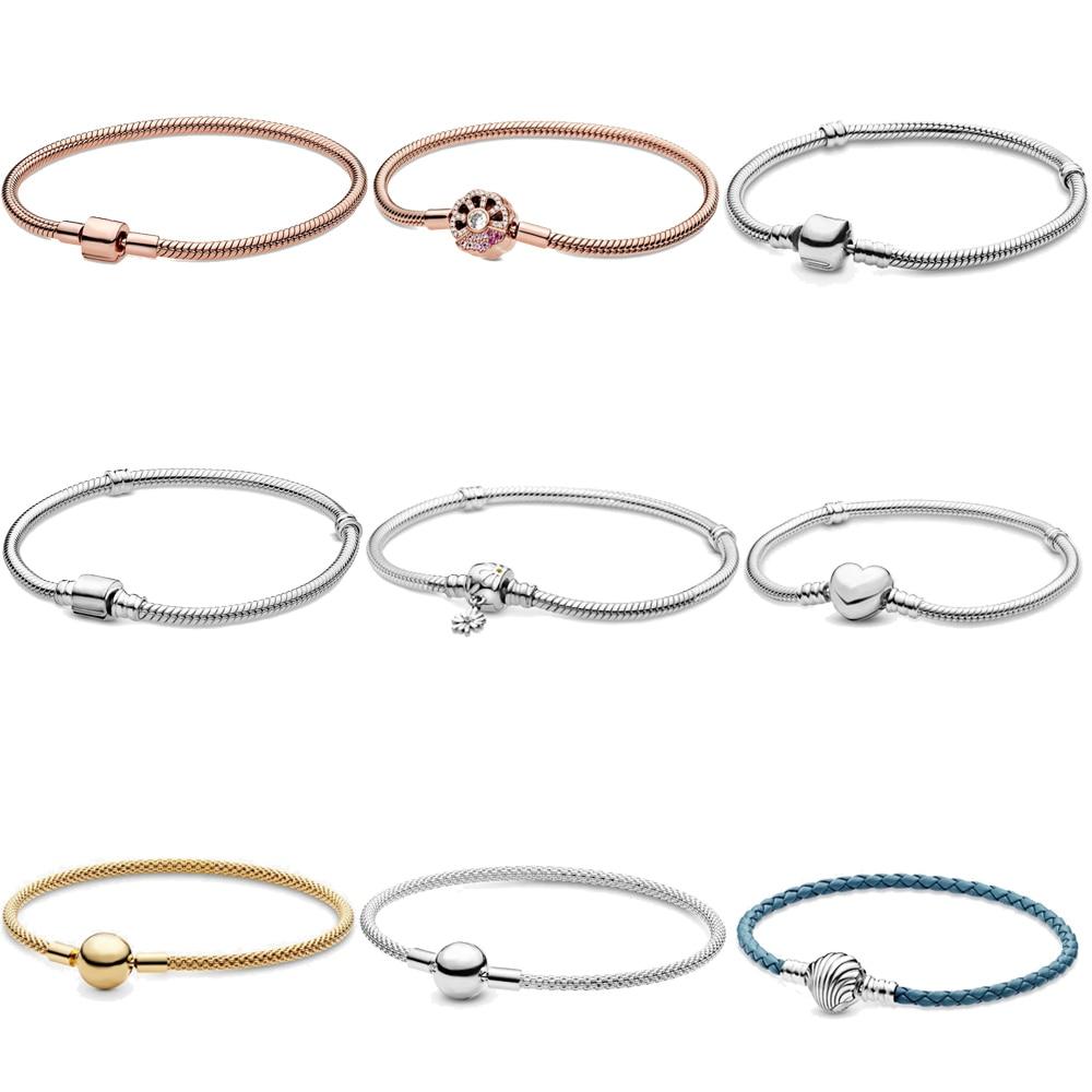2020 New Arrivals 925 Solid Silver Bracelet Rose Golden Color Daisy Flower Barrel Clasp Snake Chain Bracelet Women Jewelry