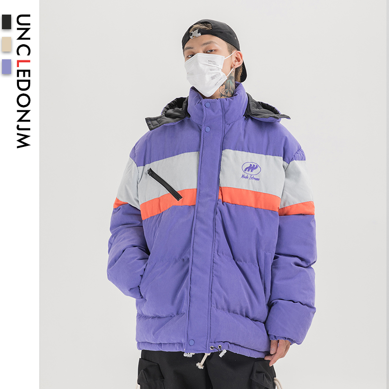 UNCLEDONJM Cotton Padded Oversized Windbreaker Hooded Parkas Jackets Streetwear Harajuku Thick Warm Winter Coats Men DP10