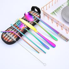 цена на 8Pcs/Set Portable Outdoor Tableware Alloy Knife Fork Spoon Chopsticks With Case Cutlery Tableware Camp Cooking Supplies