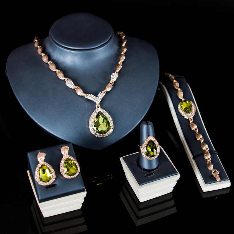 תורכי תכשיטי אלגנטי טיפת המים זירקון תליון שרשרת עגילי טבעת צמיד מדהים נשים אפריקאי ערבית תכשיטים