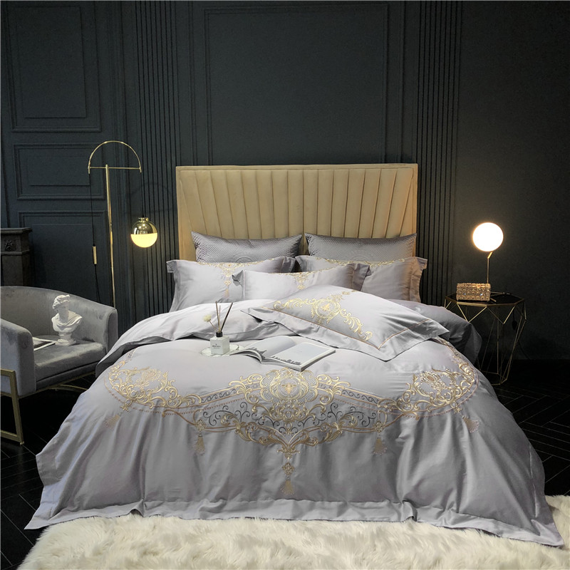 Solid Grey Chic Embroidery Duvet Cover Set Queen King Size Egyptian Cotton Soft Bedding Set Comforter Cover Bed Sheet Pillowcase