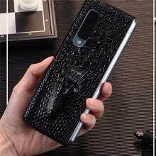 Caso de telefone de couro luxo à prova de choque capa traseira protetora escudo para samsung w20/fold/f9000 acessórios do telefone móvel