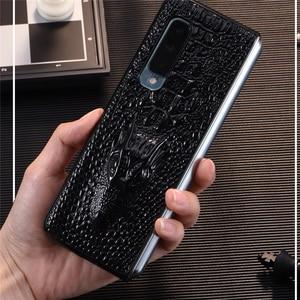 Image 1 - Luksusowy skórzany futerał na telefon odporny na wstrząsy ochronna tylna pokrywa Shell dla Samsung W20/Fold/F9000 akcesoria do telefonów komórkowych