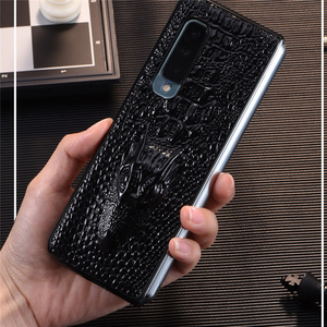 Image 1 - Luxury Leather Phone Case Shockproof Protective Back Cover Shell for Samsung W20/Fold/F9000 Mobile Phone Accessories