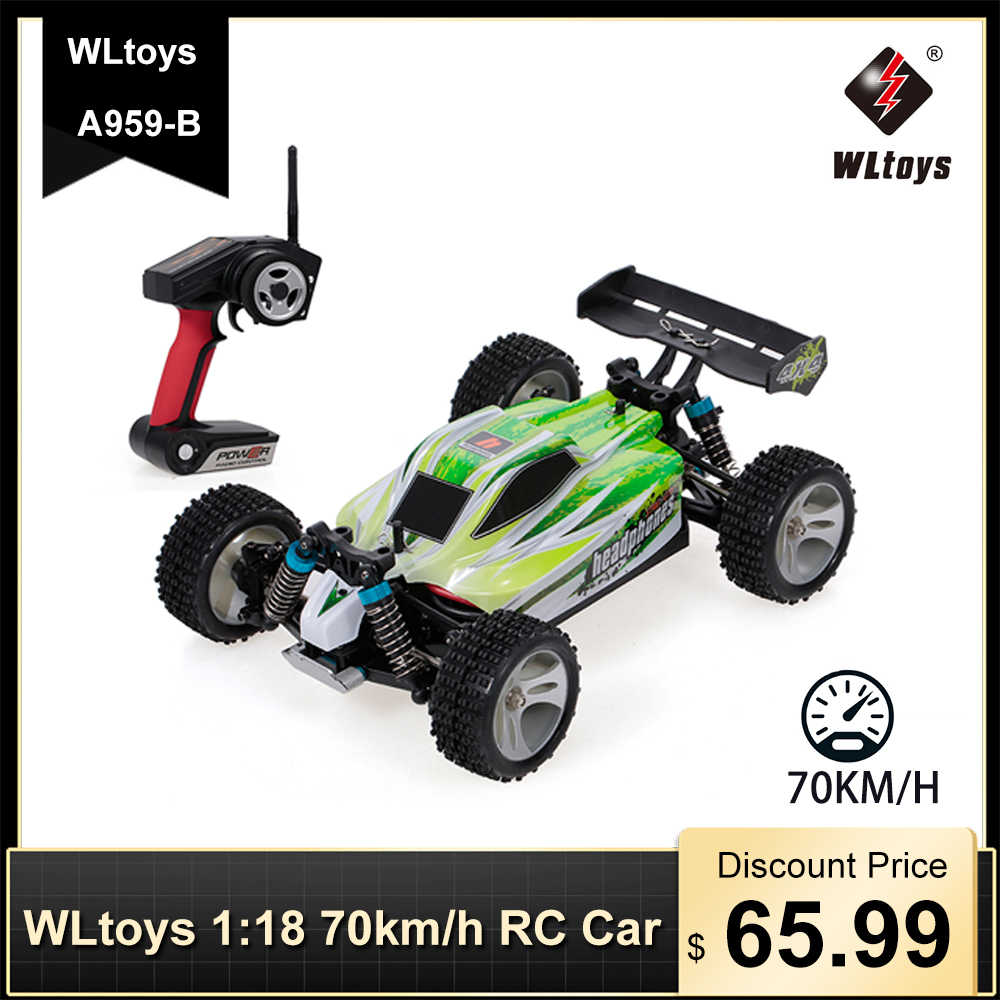 Wltoys A959-B 1:18 70 Km/h Hoge Snelheid Rc Racing Auto 4WD 2.4 Ghz Rc Auto Elektrische Afstandsbediening Voertuig Off -Road Car Buggy Speelgoed