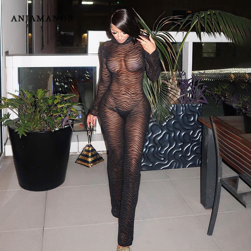 ANJAMANOR Sexy Open Back Long Sleeve Rompers Womens Jumpsuit Black Sheer Zebra Mesh Transparent One Piece Club Outfits D66-AA96