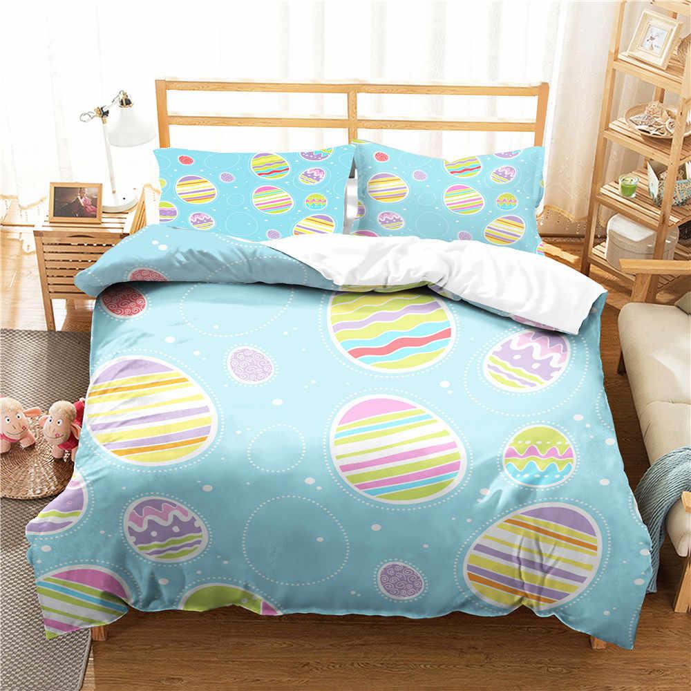 King ขนาดชุดห้องนอนเสื้อผ้าอีสเตอร์ไข่พิมพ์ Homne สิ่งทอเตียงผ้าลินินกับปลอกหมอนคู่ขนาด Coverlets