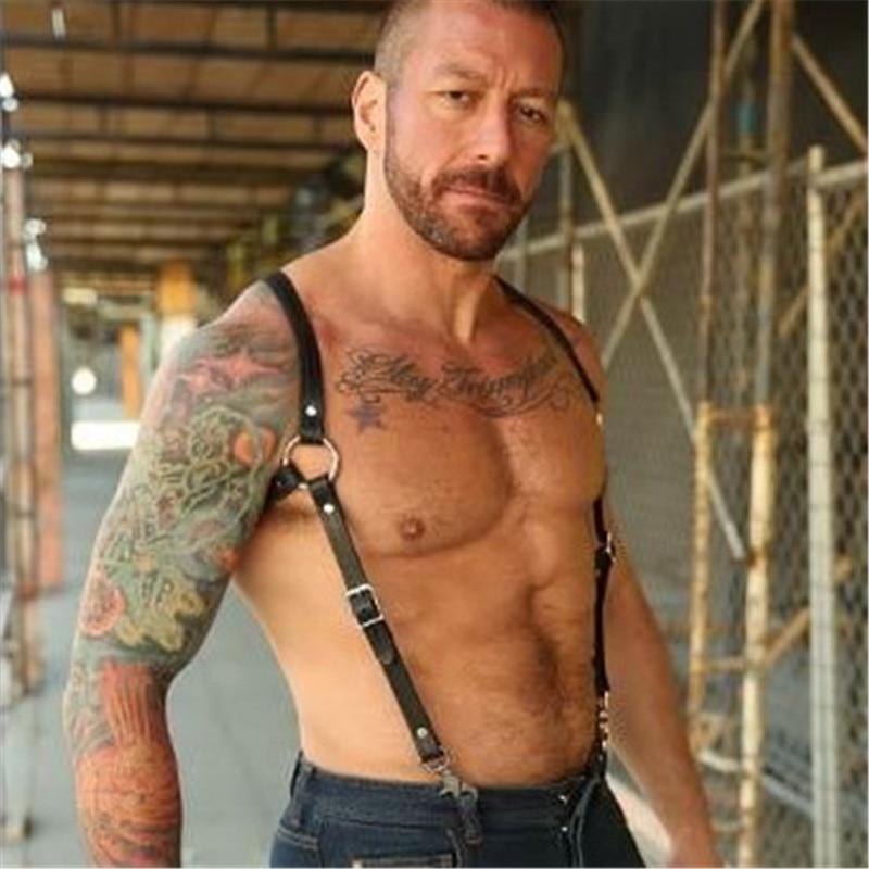 Fetish Men Gay Chest Harness Belts Adjustable Leather Tops BDSM Body Bondage Cage Harness Men Punk Rave Costumes For Adults Game