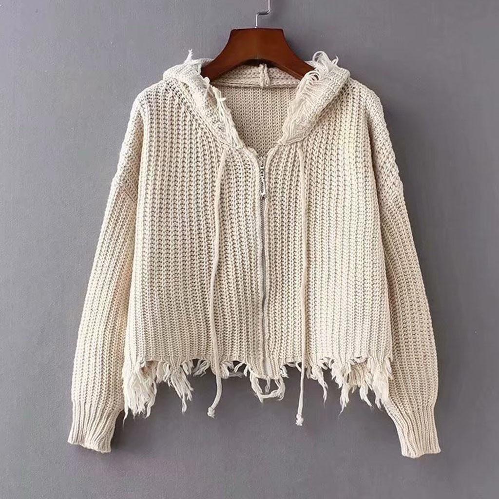 pull femme nouveaute 2020 sweater women Drawstring Solid Long Sleeve Sweatershirt Zipper Knitt Sweater  jersey mujer