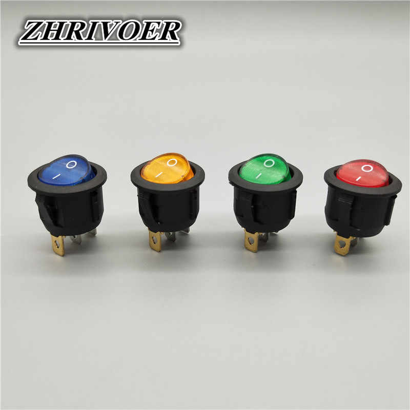 20mm KCD1 Led Schalter 10A 12V Licht Power Switch Auto Taste Leuchtet AUF/OFF 3pin Runde Rocker schalter