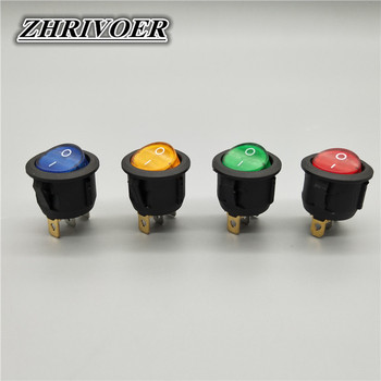 20mm KCD1 Led Switch 10A 12V Light Power Switch Car Button Lights ON/OFF 3pin Round Rocker Switch free shipping 20pcs lot 20mm opening round three legged illuminated red rocker switch kcd1 105 3 feet 2 files light