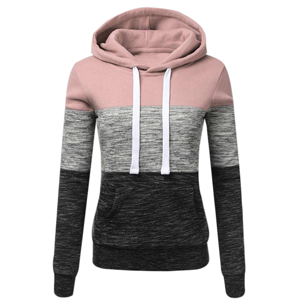 OEAK 2019 Autumn Winter Women Sweatshirts Casual Hoodies Sweatshirt Patchwork Ladies Hooded Pullover Women Clothing Warm Tops