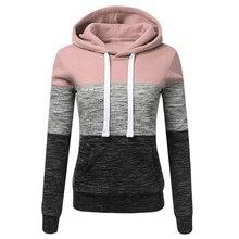 OEAK 2019 Autumn Winter Women Sweatshirts Casual Hoodies Sweatshirt Patchwork Ladies Hooded Pullover Clothing Warm Tops