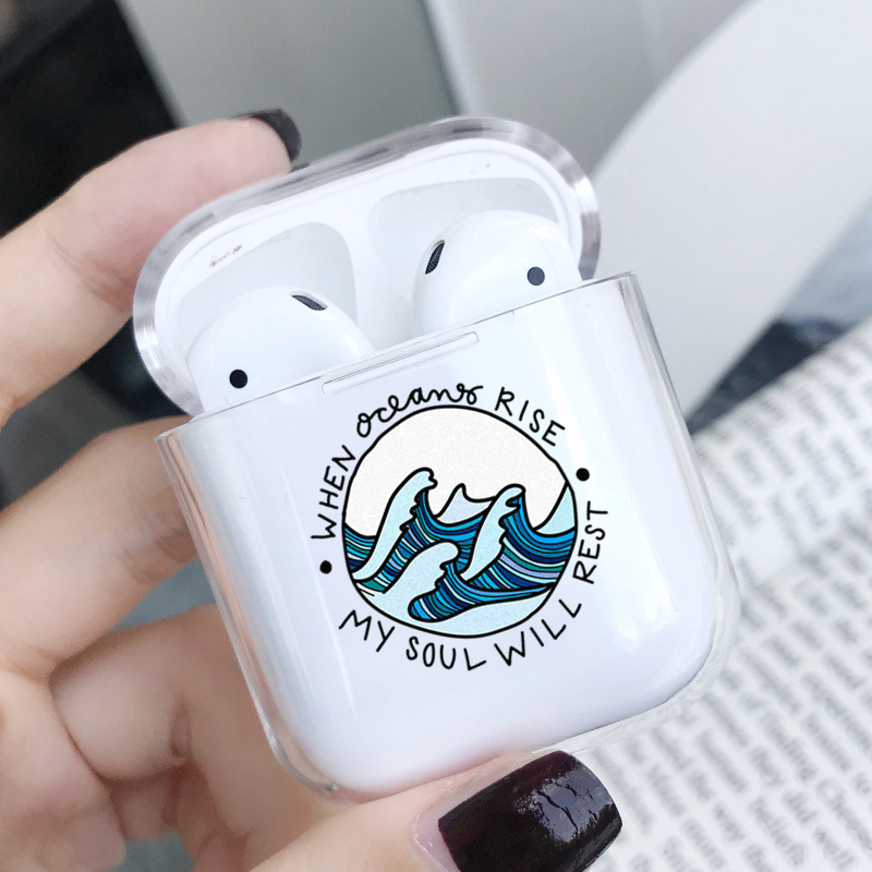 Soft Silicone Cute Air Pods Case For Apple Airpods Case Luxury Cartoon Sea Wave Transparent Airpods Case In Earphone Accessories