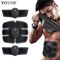 EMS беспроводной тренажер для мышц, умный фитнес-тренажер для тренировки живота, электрические наклейки для потери веса, массажер для похуде...