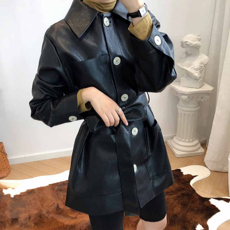 Pu   Leather   Woman Jacket 2019 High Waist Fashion Pocket Loose Long Sleeve Women Autumn Coat With Belts