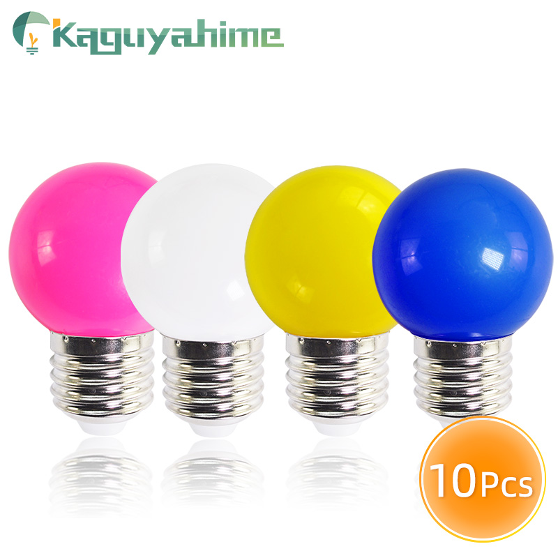 Kaguyahime 10pcs Colorful Led E27 Bulb 220V LED Lamp 3W E27 Globe Lampada SMD 2835 RGB Flashlight G45 Led Spot Light Bomlillas