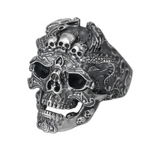 925 Real Sterling Silver Jewelry Men Women Punk Skull Opening Ring Christmas gift Adjustable Ring new retro punk skull ring rock car crack halloween men and women personality ring jewelry gift
