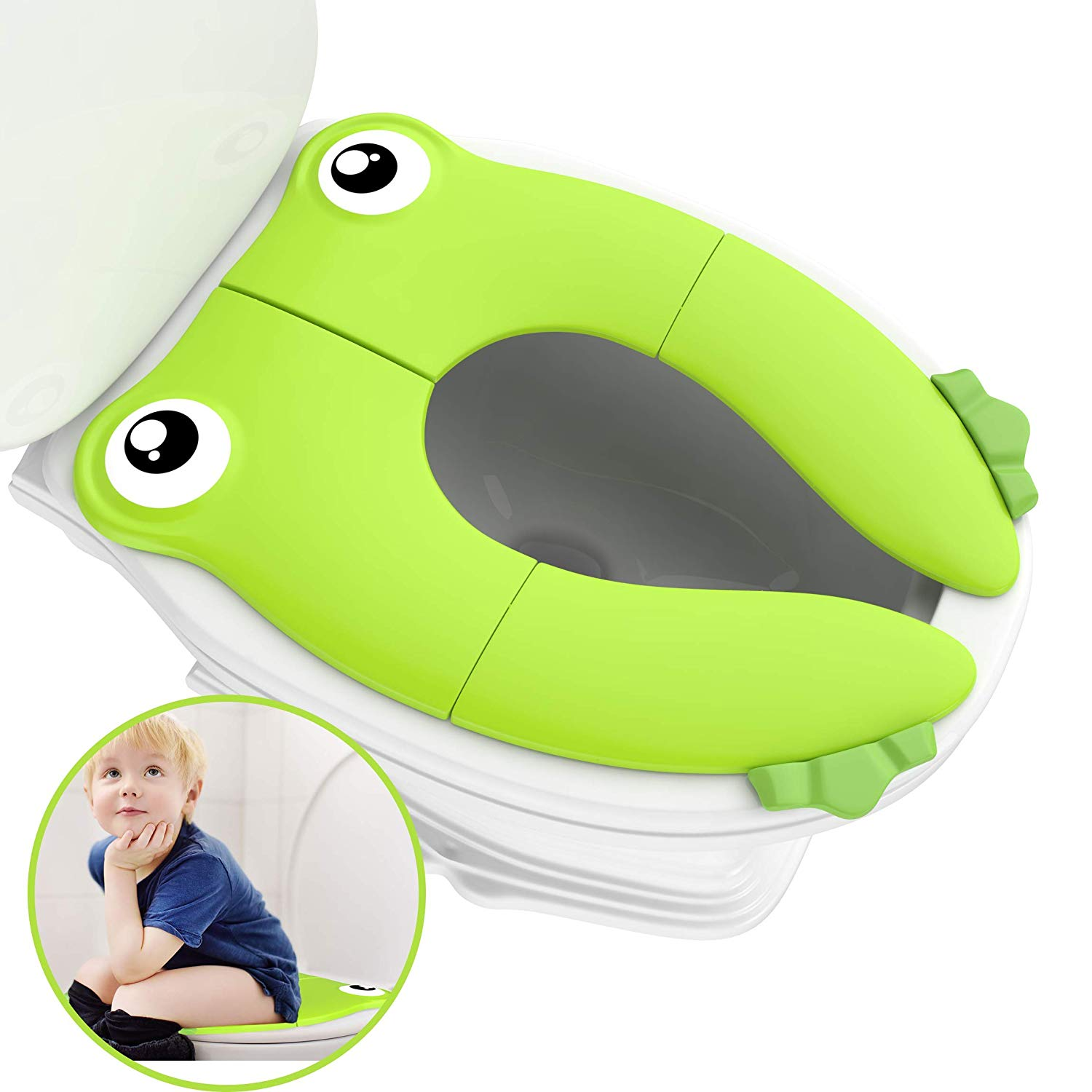 Travel Portable Folding Potty Training Toilet Seat Cover, Non Slip Silicone Pads, Suitable For Kids Baby Boys And Girls