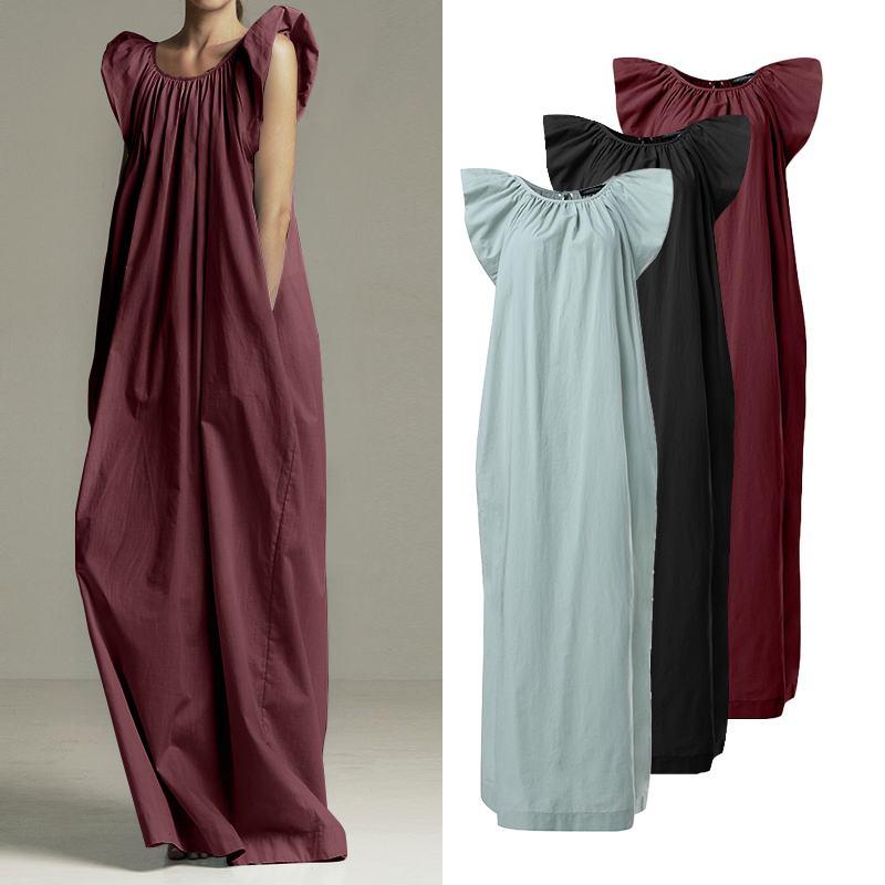 Женское летнее платье с оборками, сарафан без рукавов, ZANZEA 2020, однотонное длинное платье макси, Vestidos, с карманами, кафтан, халат, Femme, Размер 7|Платья|   | АлиЭкспресс