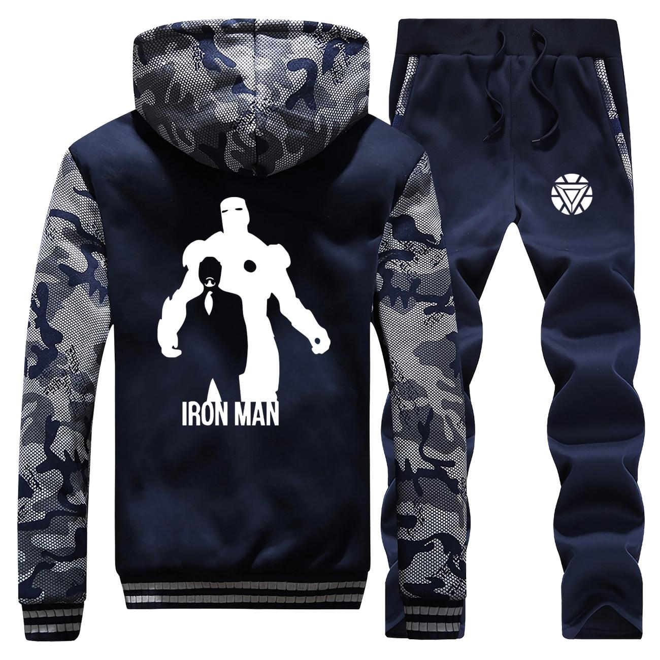 The Avengers Iron Man Tracksuit Winter Men Set Thick Fleece Jackets + Pants 2 Pieces Sets Male Warm Hoodies Suit Mens Sportswear