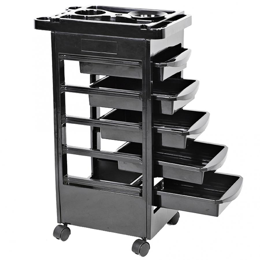 Hair Salon Instrument Storage Cart Adjustable Height Trolley Beauty Tools With 5 Drawers Hair Salon Hairdressing Supplies