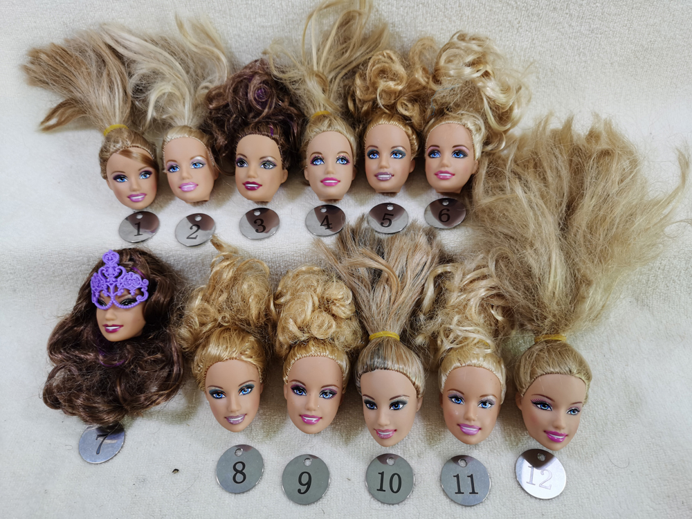 B3-1 Original Foreign Trade World Smile Beauty 1/6 OOAK NUDE Doll Head Mussed Golden Hair For DIY 90% NEW