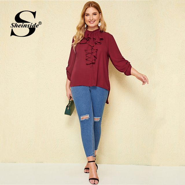 Sheinside Plus Size Casual Roll Up Sleeve Blouse Women 2019 Autumn Ruffle Trim Button Up Blouses Ladies Solid Stand Collar Top 4