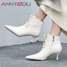 ANNYMOLI Real Leather Ankle Boots Women Lace Up Kitten High Heel Short Boots Genuine Leather Zipper Shoes Ladies Fall Size 33-40 цены онлайн