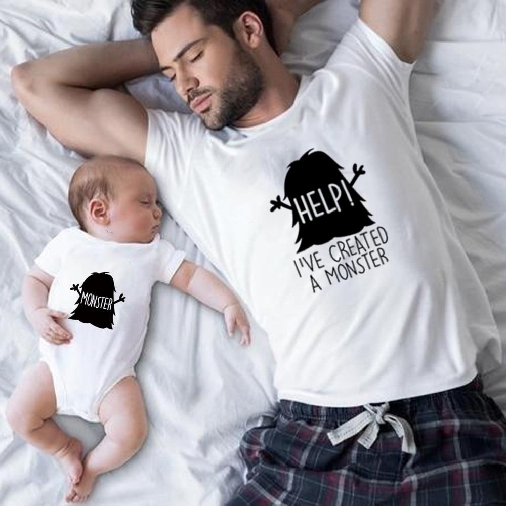 Хлопковая забавная семейная одежда для папы и сына; Семейные комплекты; Футболка с принтом пиццы для папы, мамы, детей; комбинезон для ребенка - Цвет: Monster