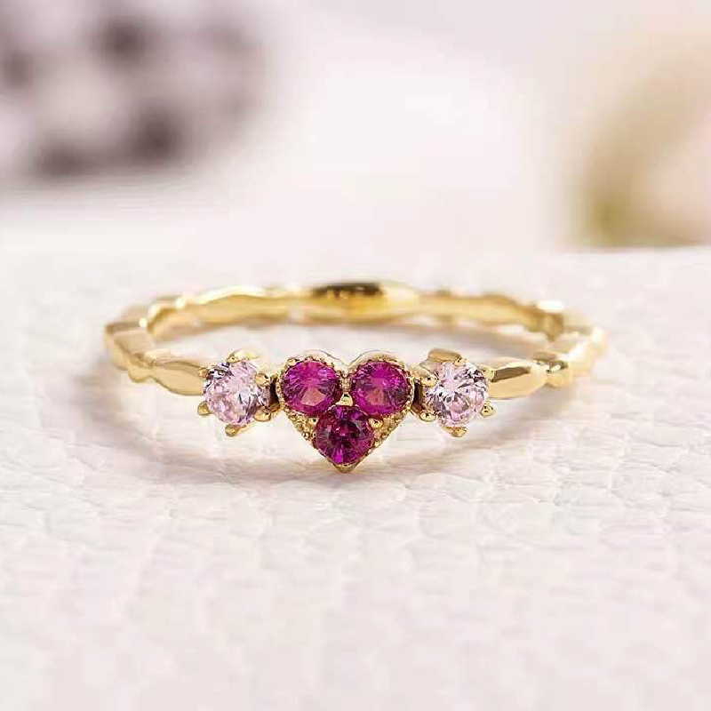 Trendy Rings 925 Silver Jewelry Heart Shape Zircon Gemstone Gold Plated Finger Ring for Women Wedding Engagement Party Ornaments