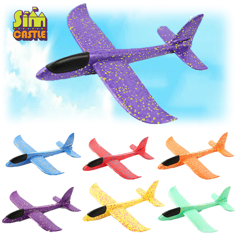 Outdoor Hand Throwing Plane 35cm Flying Launch Sports Glider Aircraft Model Foam Gliding Boys Fun Game Figure Toys for Children