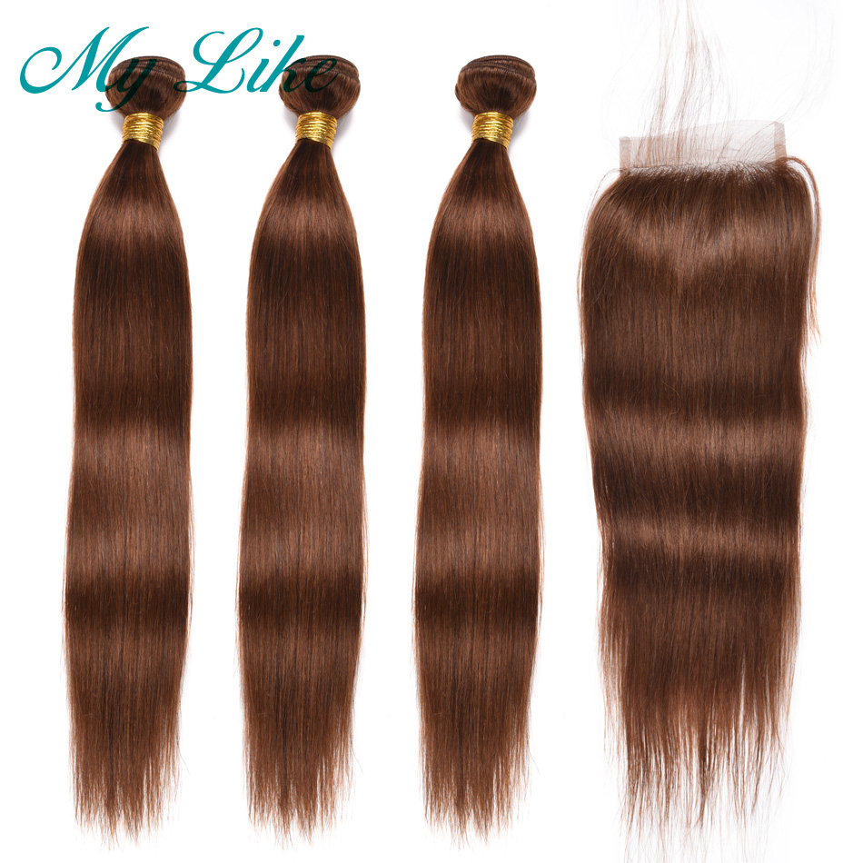 My Like Brazilian Hair Weave Straight Hair Bundles With Closure #4 Light Brown 3Pcs Human Hair Bundles With Closure Non Remy