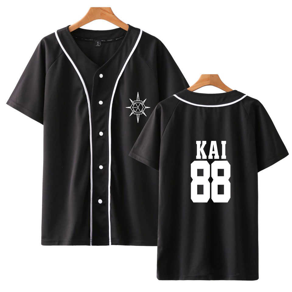 Zomer Kpop EXO Planet 5 Baseball T-shirt Mannen Vrouwen XIUMIN CHANYEOL KAI Lid Naam Gedrukt Ventilator Ondersteuning Hop Hip Ademend tshirt