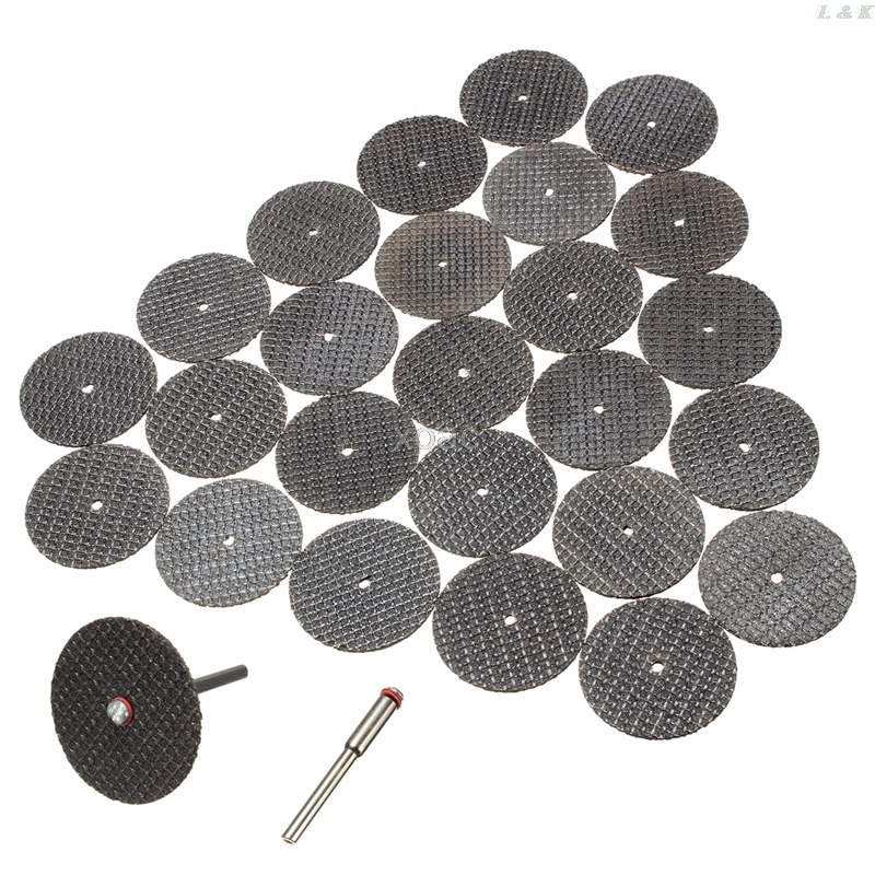Hot 25pc 32mm Resin Cutting Wheel Cut-off Discs Kit +1pc Mandrel For Rotary Tool  M07 Dropship