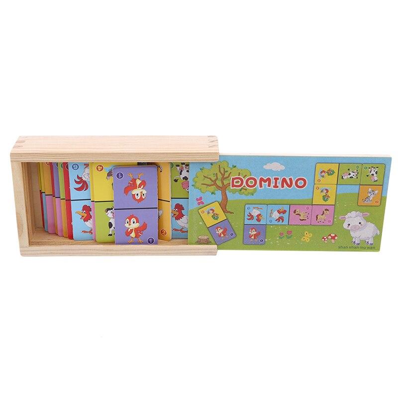 Детские деревянные игрушки, настольная игра, высококачественный бук, домино, пасьянс, Раннее Обучение, животное, познавательное образование, игрушки