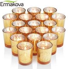Ermaova candelabro votivo de 6/12 uds, portavelas de vidrio Mercury para fiestas de bodas, Hotel, cafetería, Bar, decoración del hogar