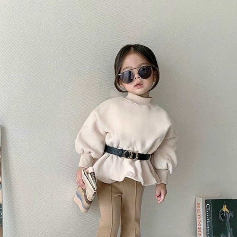 2021 Autumn Winter New Arrival Girls Long Sleeve Warm Fleece T Shirt Kids Tops Not with Belt 1