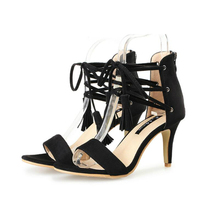 LISM 2020 Summer New High-heeled Women Sandals Sexy Fringed Shoes Fashion Fine with Open-toed Straps Open-toe