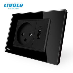 Image 2 - Livolo Power Socket with Usb Charger , White/Black Crystal Glass Panel, AC 250V16A  Wall Power Socket , VL C9C1IL1U 11/12
