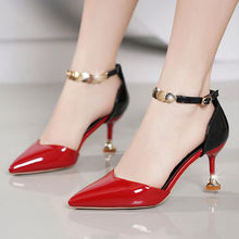 2020 new single shoes women's high heels thin summer fashion sandals pointed hollow one word buckle belt
