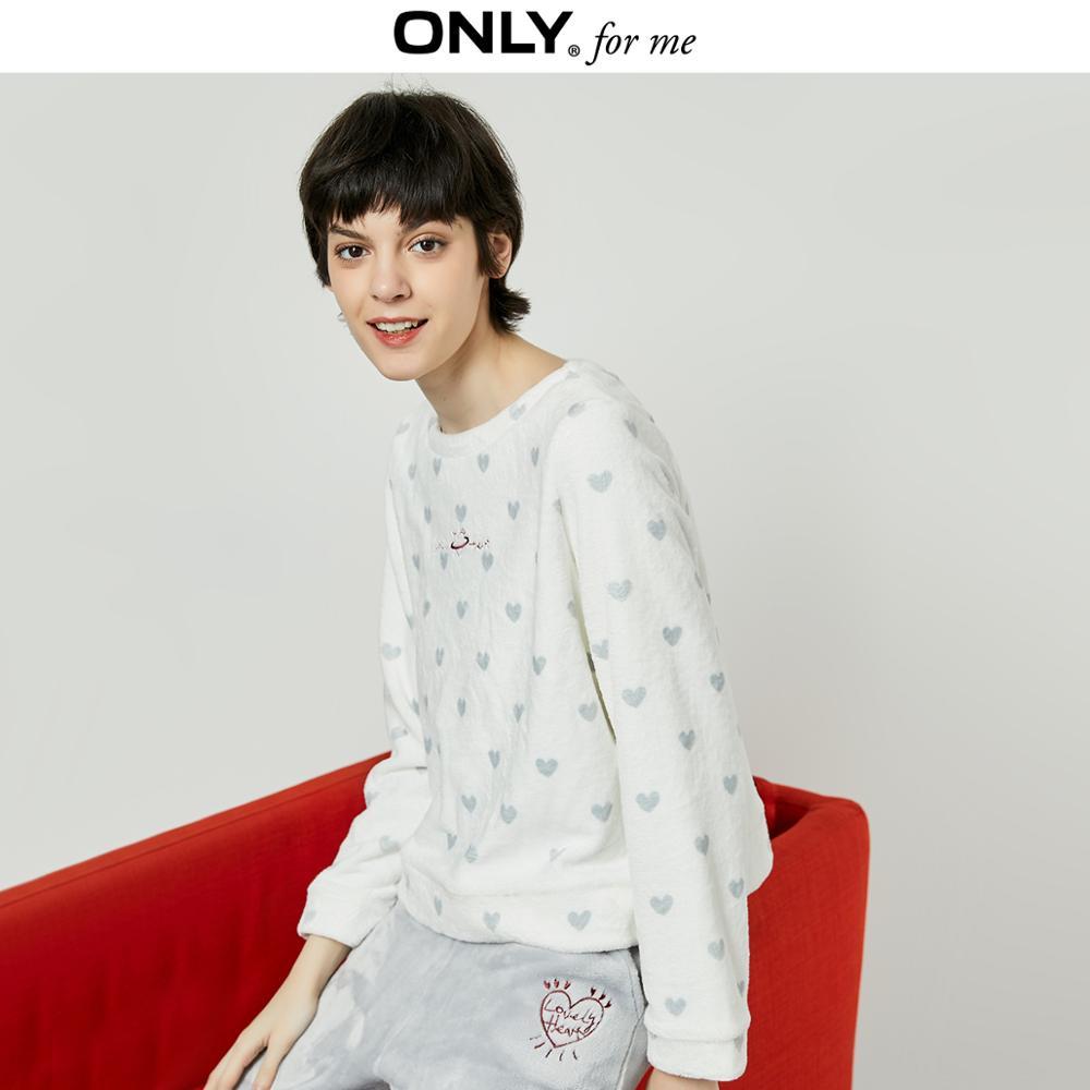 ONLY  Women's Loose Fit Heart-shaped Pattern Coral Fleece Sweatshirt | 11949S550