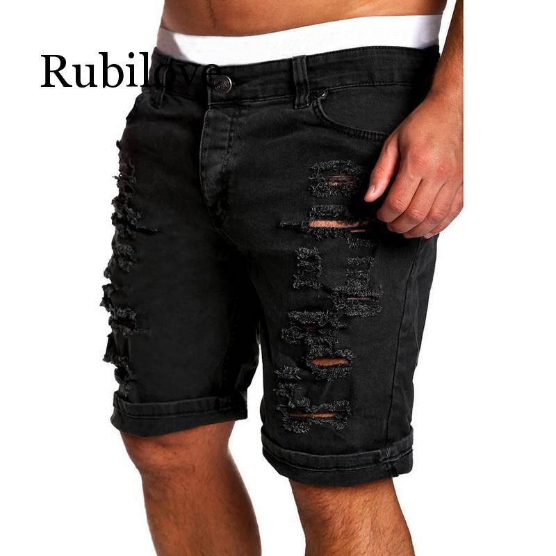 Rubilove 2019 Men's Regular Denim Short Jean Summer Slim Skinny Straight Casual Jeans Men's Solid Jean Shorts
