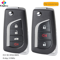 KEYECU Flip Remote Control Car Key With 3/ 4 Buttons & 315MHz & H Chip & TOY43/ TOY48 Blade FOB for Toyota Camry 2018 HYQ12BFB